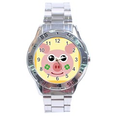Luck Lucky Pig Pig Lucky Charm Stainless Steel Analogue Watch by Onesevenart