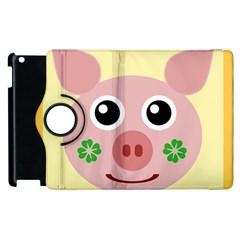 Luck Lucky Pig Pig Lucky Charm Apple Ipad 2 Flip 360 Case by Onesevenart