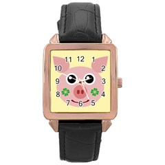 Luck Lucky Pig Pig Lucky Charm Rose Gold Leather Watch  by Onesevenart