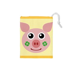 Luck Lucky Pig Pig Lucky Charm Drawstring Pouches (small)  by Onesevenart