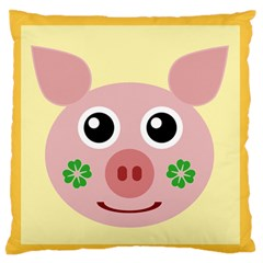 Luck Lucky Pig Pig Lucky Charm Large Flano Cushion Case (one Side) by Onesevenart