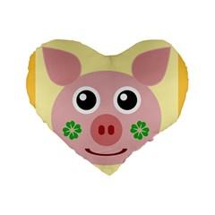 Luck Lucky Pig Pig Lucky Charm Standard 16  Premium Flano Heart Shape Cushions by Onesevenart
