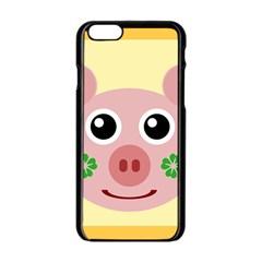 Luck Lucky Pig Pig Lucky Charm Apple Iphone 6/6s Black Enamel Case by Onesevenart
