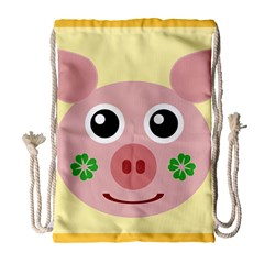 Luck Lucky Pig Pig Lucky Charm Drawstring Bag (large) by Onesevenart