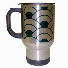 Art Deco Teal White Travel Mug (silver Gray) by 8fugoso