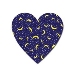 Moon Pattern Heart Magnet by Onesevenart