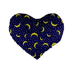 Moon Pattern Standard 16  Premium Flano Heart Shape Cushions by Onesevenart
