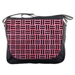 Woven1 Black Marble & Pink Watercolor Messenger Bags by trendistuff