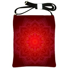 Mandala Ornament Floral Pattern Shoulder Sling Bags by Onesevenart