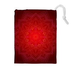 Mandala Ornament Floral Pattern Drawstring Pouches (extra Large) by Onesevenart