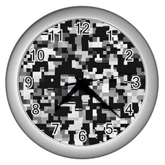 Noise Texture Graphics Generated Wall Clocks (silver)  by Onesevenart