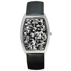 Noise Texture Graphics Generated Barrel Style Metal Watch by Onesevenart
