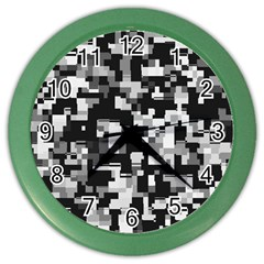 Noise Texture Graphics Generated Color Wall Clocks by Onesevenart