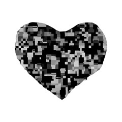 Noise Texture Graphics Generated Standard 16  Premium Flano Heart Shape Cushions by Onesevenart