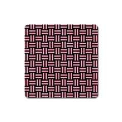 Woven1 Black Marble & Pink Watercolor (r) Square Magnet by trendistuff