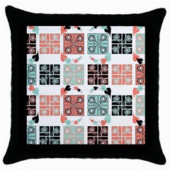 Mint Black Coral Heart Paisley Throw Pillow Case (black) by Onesevenart