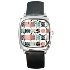 Mint Black Coral Heart Paisley Square Metal Watch by Onesevenart