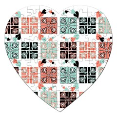 Mint Black Coral Heart Paisley Jigsaw Puzzle (heart) by Onesevenart