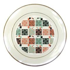 Mint Black Coral Heart Paisley Porcelain Plates by Onesevenart