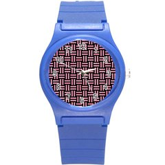 Woven1 Black Marble & Pink Watercolor (r) Round Plastic Sport Watch (s) by trendistuff