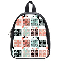 Mint Black Coral Heart Paisley School Bag (small) by Onesevenart