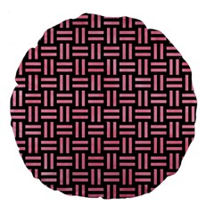 Woven1 Black Marble & Pink Watercolor (r) Large 18  Premium Flano Round Cushions by trendistuff