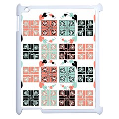 Mint Black Coral Heart Paisley Apple Ipad 2 Case (white) by Onesevenart