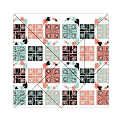 Mint Black Coral Heart Paisley Acrylic Tangram Puzzle (6  X 6 ) by Onesevenart