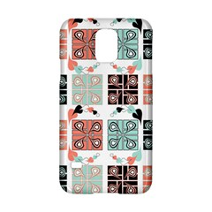 Mint Black Coral Heart Paisley Samsung Galaxy S5 Hardshell Case  by Onesevenart