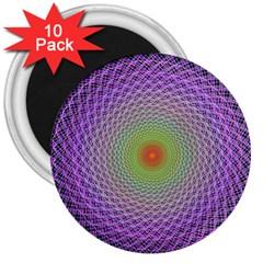 Art Digital Fractal Spiral Spin 3  Magnets (10 Pack)  by Onesevenart