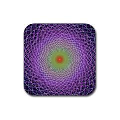 Art Digital Fractal Spiral Spin Rubber Coaster (square)  by Onesevenart