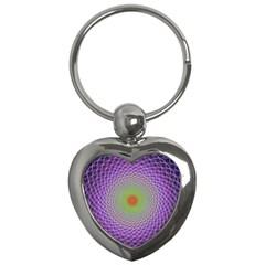 Art Digital Fractal Spiral Spin Key Chains (heart)  by Onesevenart