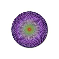 Art Digital Fractal Spiral Spin Rubber Coaster (round)  by Onesevenart