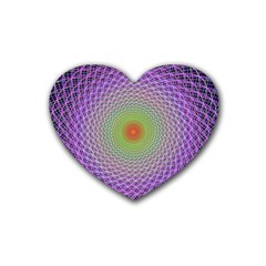 Art Digital Fractal Spiral Spin Rubber Coaster (heart)  by Onesevenart