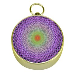 Art Digital Fractal Spiral Spin Gold Compasses by Onesevenart