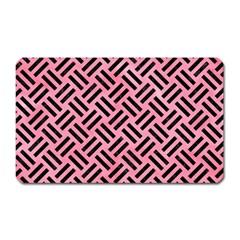 Woven2 Black Marble & Pink Watercolor Magnet (rectangular) by trendistuff
