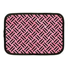 Woven2 Black Marble & Pink Watercolor Netbook Case (medium)  by trendistuff