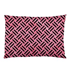 Woven2 Black Marble & Pink Watercolor Pillow Case by trendistuff