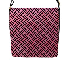 Woven2 Black Marble & Pink Watercolor Flap Messenger Bag (l)  by trendistuff