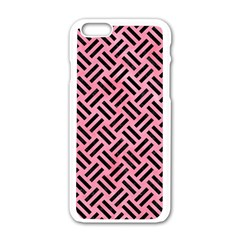 Woven2 Black Marble & Pink Watercolor Apple Iphone 6/6s White Enamel Case by trendistuff