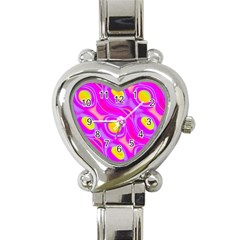 Noise Texture Graphics Generated Heart Italian Charm Watch by Onesevenart