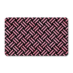 Woven2 Black Marble & Pink Watercolor (r) Magnet (rectangular) by trendistuff
