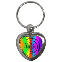Pattern Colorful Glass Distortion Key Chains (heart)  by Onesevenart