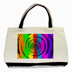 Pattern Colorful Glass Distortion Basic Tote Bag by Onesevenart