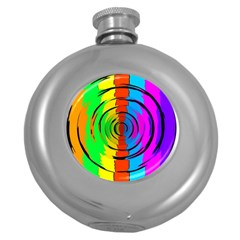 Pattern Colorful Glass Distortion Round Hip Flask (5 Oz) by Onesevenart
