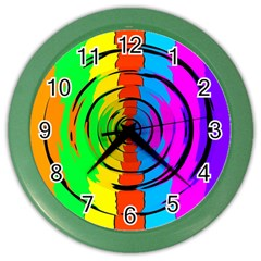 Pattern Colorful Glass Distortion Color Wall Clocks by Onesevenart