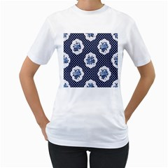 Shabby Chic Navy Blue Women s T Shirt (white) (two Sided) by 8fugoso