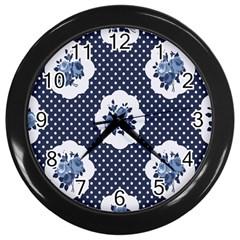 Shabby Chic Navy Blue Wall Clocks (black) by 8fugoso