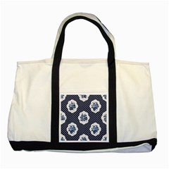 Shabby Chic Navy Blue Two Tone Tote Bag by 8fugoso
