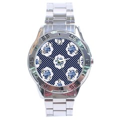 Shabby Chic Navy Blue Stainless Steel Analogue Watch by 8fugoso